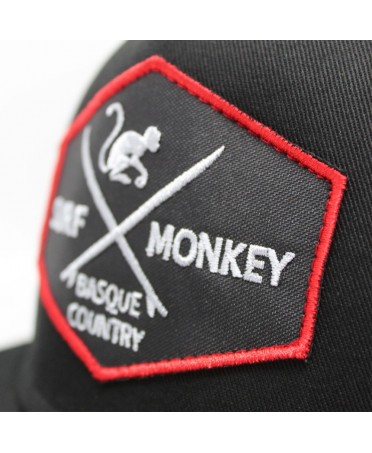Surf Monkey - Snapback de 5 paneles Gorra plana Surf Monkey - Gorra Tipo Rapero Gorra Negra