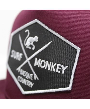 Surf Monkey - Snapback de 5 paneles Gorra plana Surf Monkey - Gorra Tipo Rapero Gorra Granate