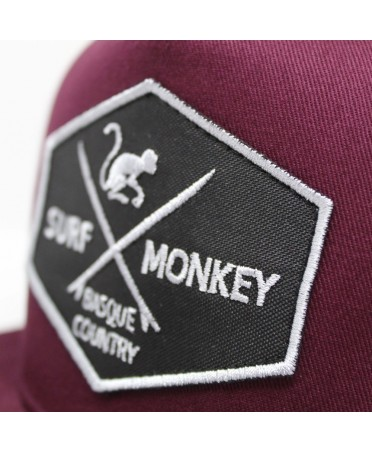 Surf Monkey Trucker Cap -/- Surf Style -/- Surf Monkey Trucker Cap -/- Surf Style -/- 5 Panel Snapback Rapper  Burdeos  cap